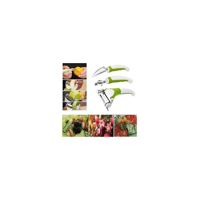 Alpexe Lot 3 Economes multi fonction haute qualite de prise en main et finition Lame Inox manche ergonomique