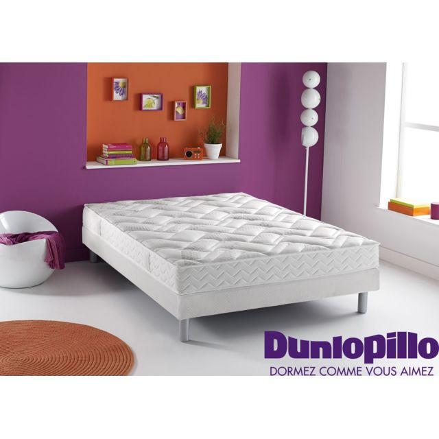 Dunlopillo - Ensemble : Matelas 100% Latex + Sommier Dunlosom + Pieds cylindriques coloris aluminium - Plusieurs dimensions Blanc