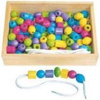 Samsam - Sapin Malin Boîte de 125 Grosses Perles en Bois Pastel
