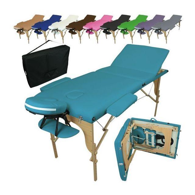 vivezen table de massage pliante 3 zones en bois avec panneau reiki accessoires et housse de. Black Bedroom Furniture Sets. Home Design Ideas