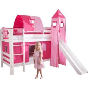 comforium lit superpos 90x200 avec toboggan design ch teau rose blanc nccm x nccm pas. Black Bedroom Furniture Sets. Home Design Ideas