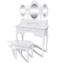 Rocambolesk Superbe Coiffeuse avec tabouret et 3 miroirs Neuf