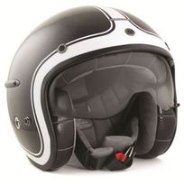 Harisson - casque jet moto scooter fibre noir-blanc brillant - Ca115 L