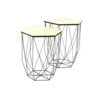 Declikdeco - Pour rendre votre salon moderne tout en étant naturel, profitez du Lot de 2 Tables Gigognes Filaires Grises Boreal. Le design scandinave marie à la perfection le plateau de bois et sa structure en métal sculpté. Pourquoi prendre une table basse quand on