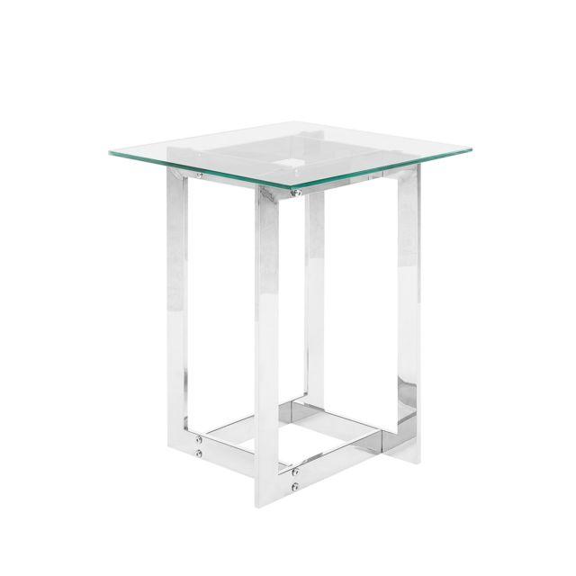 argenté plateau avec verre en BELIANI Table appoint IWHED29