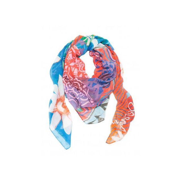 b062d07f22e60 Desigual - Rectangle Happy Bazar, Foulard écharpe imprimé Rouge Bleu  Borgona Claro
