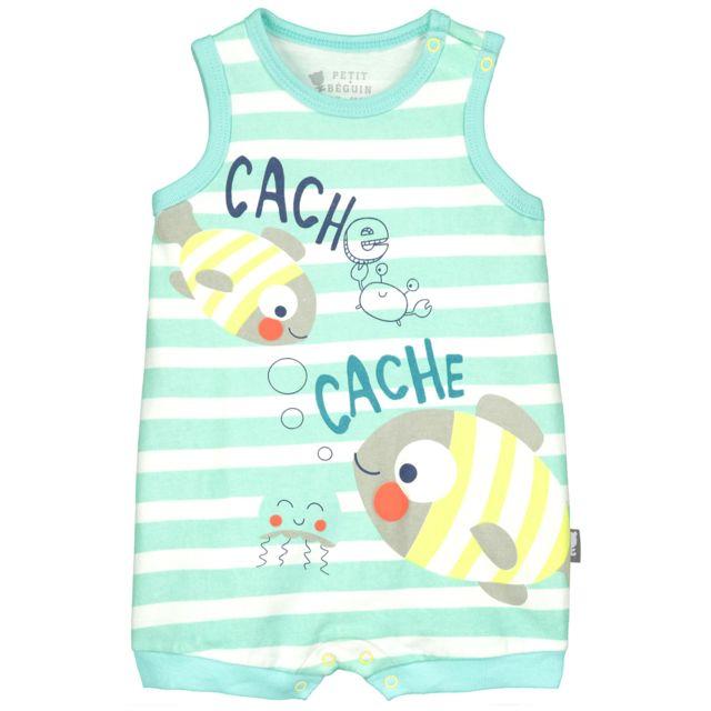 817bb2eb06ace Petit Beguin - Barboteuse bébé garçon Party Fish - Couleur - Bleu ...