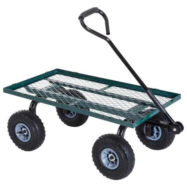 outsunny chariot de transport jardin remorque main. Black Bedroom Furniture Sets. Home Design Ideas