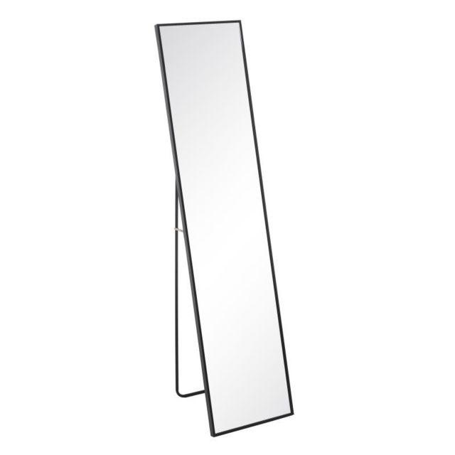 Tousmesmeubles Miroir sur pied Métal noir taille S - Kansas