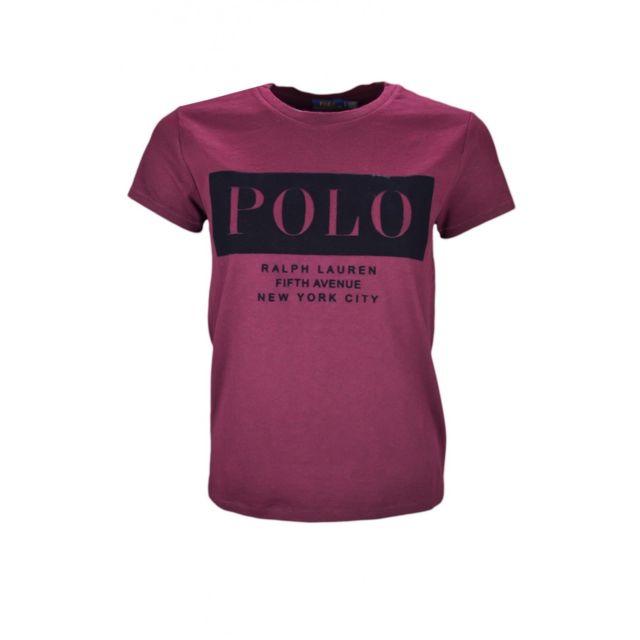 Ralph Lauren - T-shirt Polo rouge bordeaux pour femme - pas cher Achat    Vente Polo femme - RueDuCommerce 01287e9ba141
