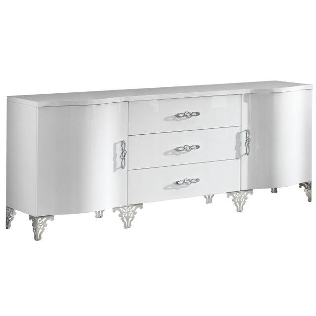 Comforium Bahut 2 portes et 3 tiroirs avec Led et pieds en acier coloris blanc laqué