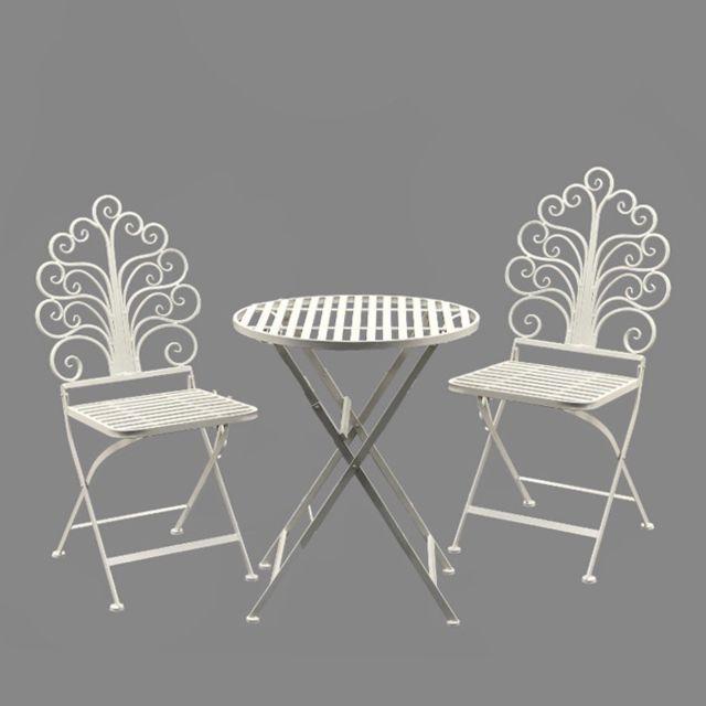 Chemin De Campagne - 1 Table 2 chaises de jardin pliante pliable Fer ...
