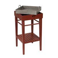 Comptoir De Famille - Table d'appoint en bois avec plateau zinc Longueur 45cm Nuance