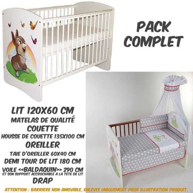TOMI PACK COMPLET Lit bébé 17 Lapin Blanc+Matelas+Parure complète LUXE+Baldaquin