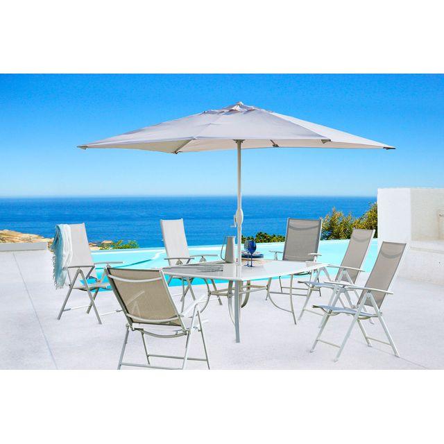 CARREFOUR Set Rona 1 Table + 6 Fauteuils + 1 Parasol