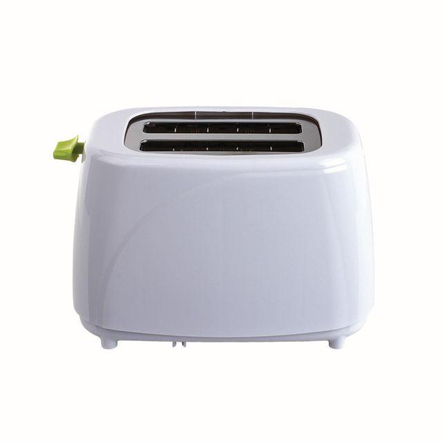 DOMOCLIP Grille-pain blanc vert DOD150BV Grille-pain - Fonctions arrêt manuel, réchauffage et décongélation - Thermostat réglable : 5 positions - Éjection automatique - Tiroir ramasse-miettes