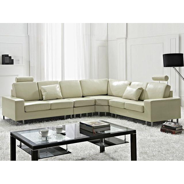 Beliani Canapé d'angle réversible - canapé en cuir beige - sofa Stockholm