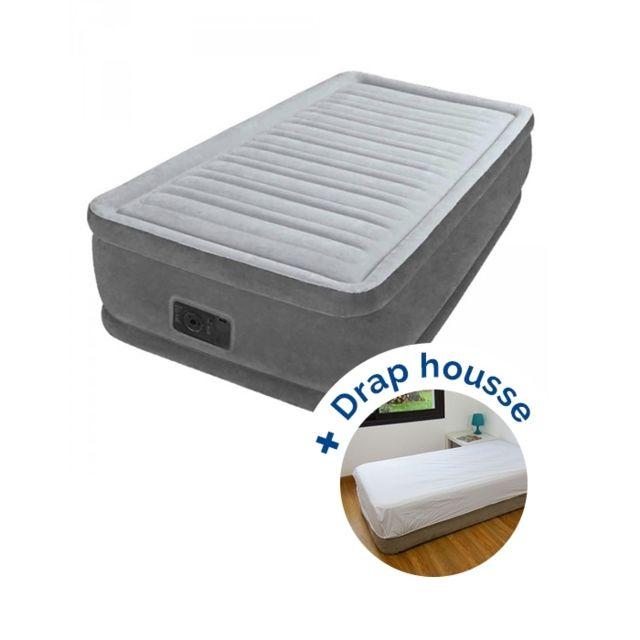 Intex pack matelas gonflable comfort plush fiber tech 191 x 99 x 46 cm drap housse nc pas - Drap housse pour matelas gonflable ...
