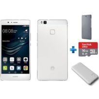 HUAWEI - P9 Lite Blanc + Flip Cover P9 Lite - Gris anthracite + Carte micro SD Ultra 16 Go 100MB/s C10 UHS U1 A1 Card+Adapteur + Powerbank 6600 mAh - Gris rubber