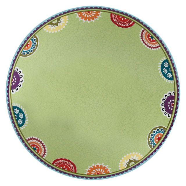 Novastyl Lot x6 Assiette creuse en grès ronde à motifs D.21.5cm Caracas - Vert