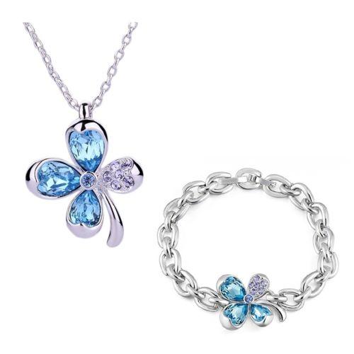 Blue Pearls - Parure   Pendentif et Bracelet Trèfle en Cristal ... ea6393063493