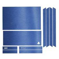 Mygoodprice - Sticker autocollant aspect alu brossé 3D skin pour Playstation 4 Ps4 Bleu