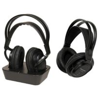 Casques serre-tête sans fil noir 2 pcs 2 écouteurs bandeaux portée 100 m