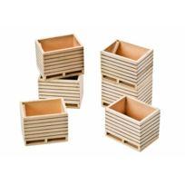 Van Manen - 610611 Kids Globe By Toys World - Pack De 6 Caisses À Pommes De Terre En Bois