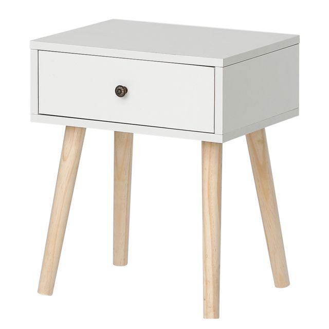 Ltppstore Table de chevet simple scandinave avec tiroirs coulissants Table de chevet scandinave blanc clair laqué satiné