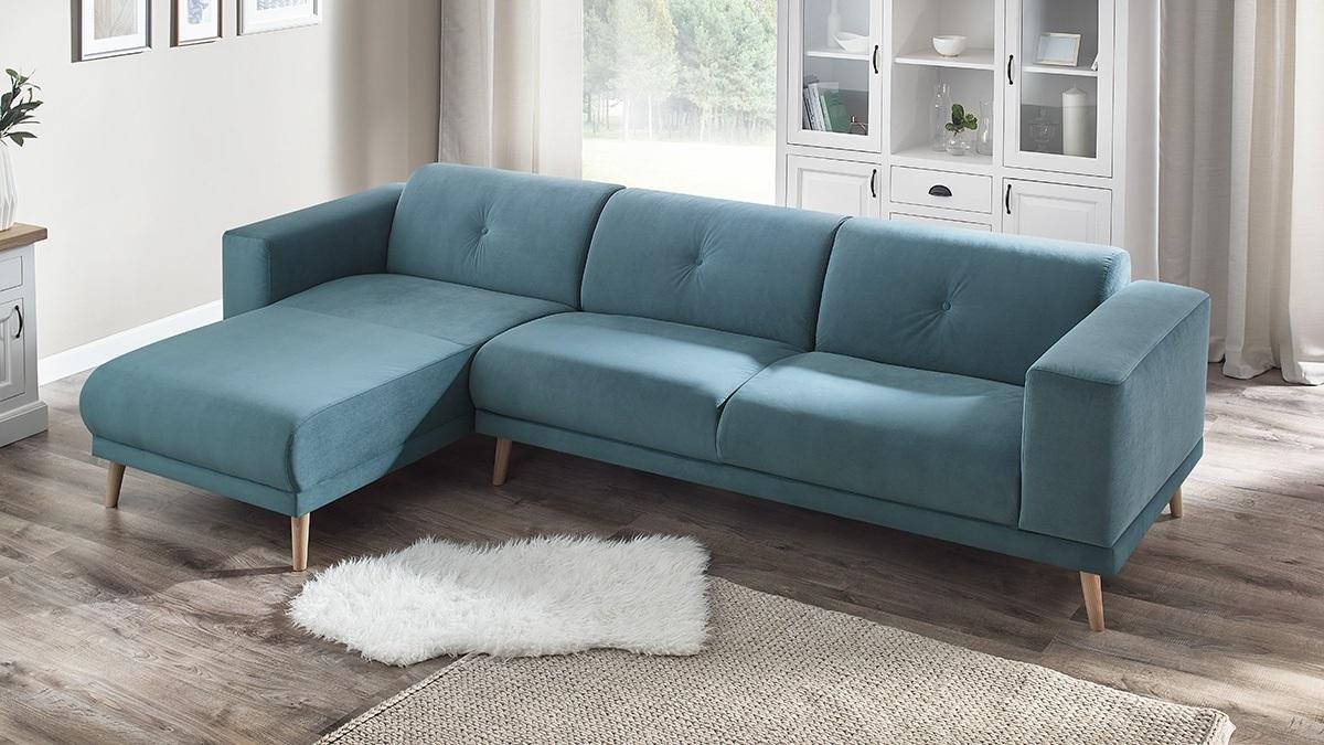 bobochic luna canape d 39 angle gauche pouf bleu canard 6 places 95cm x 75cm x 308cm. Black Bedroom Furniture Sets. Home Design Ideas