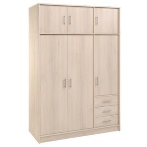 Last Meubles - Armoire 6 portes 3 tiroirs Orizon - Beige 55cm x 195cm x 130cm