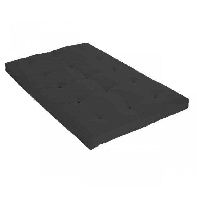 TERRE DE NUIT Matelas futon anthracite en coton 90x190