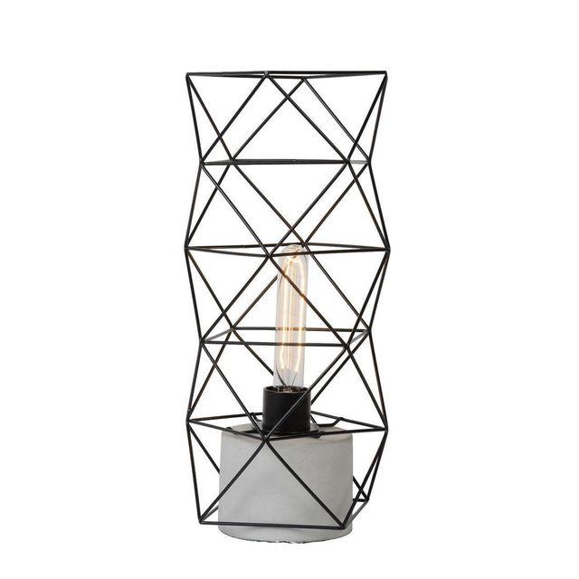 Lucide - Rumico - Lampe à poser Béton & Noir H42cm