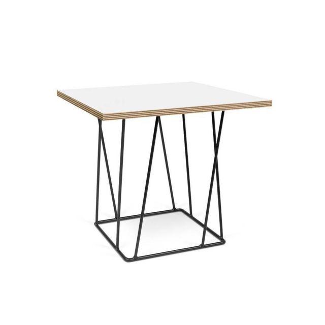 Inside 75 Table basse Helix 50 plateau blanc mat/bois structure laquée noire