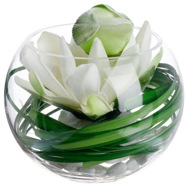 Atmosphera, Createur D'INTERIE Atmosphera - Composition lotus vase verre H21