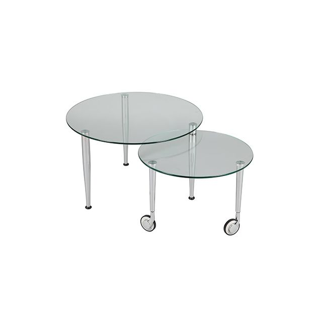 Table basse sur roulettes modulable en verre Glass