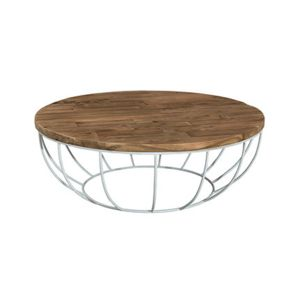 Table basse coque blanche 100x100 cm appoline teck fonc for Table basse 100x100