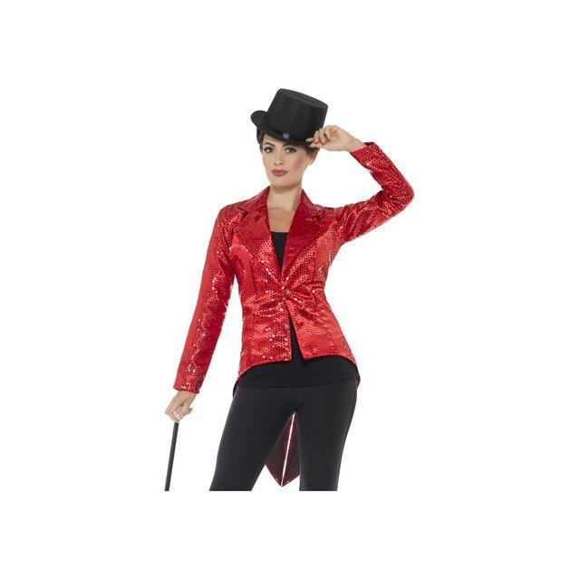 Marque Generique - Veste queue de pie rouge à sequins pour femme ... a66a255ae84