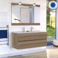 Creazur - Meuble salle de bain double vasque Rosaly 120 - Bois cambrian