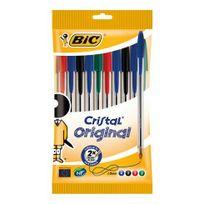 BIC - Lot de 10 stylos bille Cristal assortis - Pointe moyenne