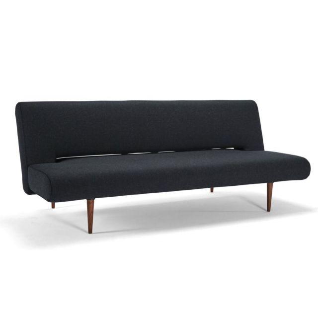Inside 75 Canape design Unfurl noir Nist_Black convertible lit 200 120cm