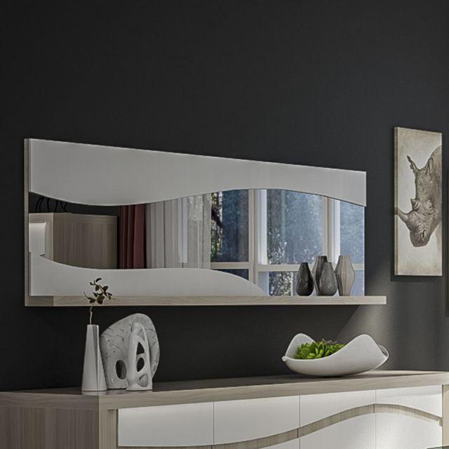 Nouvomeuble Miroir blanc laqué et couleur bois moderne Lydia