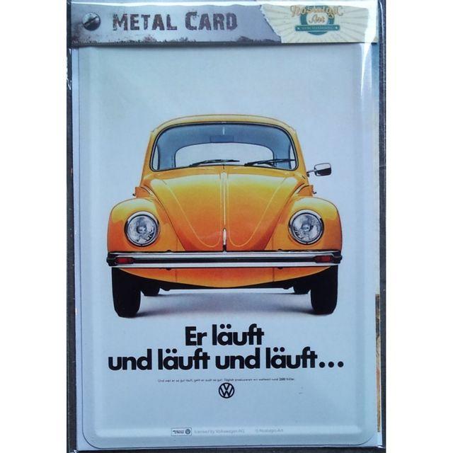 Universel Carte postal metal vw cox orange coccinelle volkswagen tole