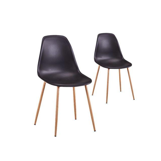 usinestreet lot de 2 chaises scandinaves eva coque plastique et pieds mtal couleur - Chaise Scandinave Pied Metal