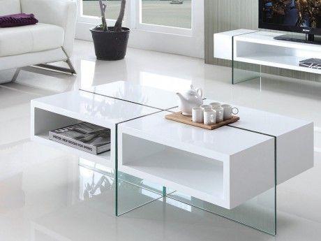 Marque Generique Table basse Brooke - Mdf laqué et verre trempé - Blanc