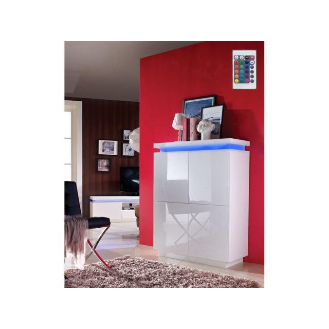 HABITAT ET JARDIN Buffet Julia en MDF blanc laqué avec LED - 96 x 40 x 125 cm - 4 portes