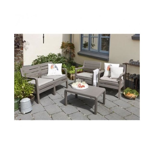 Allibert jardin - Delano Salon de jardin bas 4 places cappuccino ...