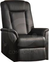 Comforium Fauteuil relax électrique en pvc avec releveur double moteur coloris noir