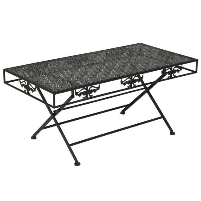 Vidaxl Table Basse Pliante Métal Table d'Appoint Salon Bout de Canapé Maison