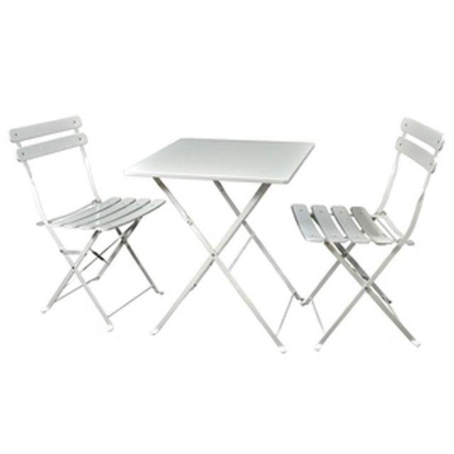 Pegane - Ensemble de jardin de 2 chaises pliantes + 1 table ...